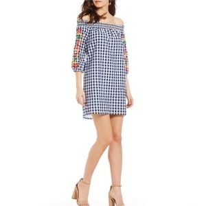 Skies Are Blue Embroidered Gingham Dress Sz M